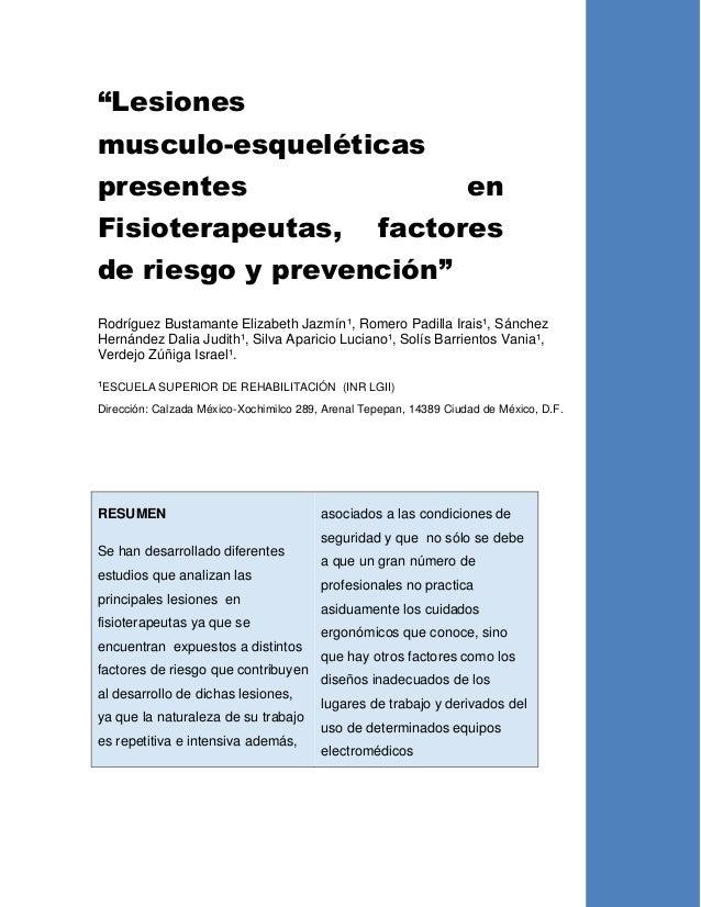 """""""Lesiones musculo-esqueléticas presentes en Fisioterapeutas, factores de riesgo y prevención"""" Rodríguez Bustamante Elizabe..."""