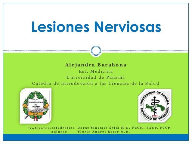 Lesiones Nerviosas Alejandra Barahona E s t . M e d i c i n a U n i v e r s i d a d d e P a n a m á C a t e d r a d e I n ...
