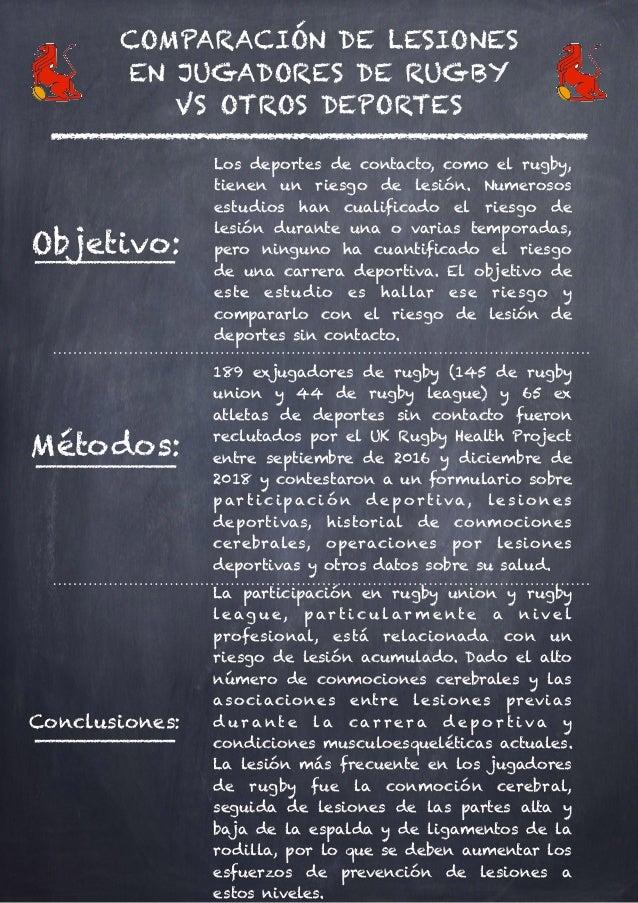 COMPARACIÓN DE LESIONES EN JUGADORES DE RUGBY VS OTROS DEPORTES Objetivo: Los deportes de contacto, como el rugby, tienen ...