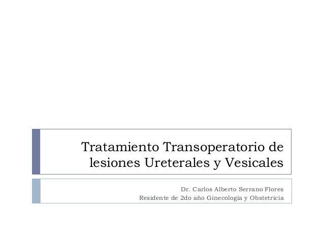 Tratamiento Transoperatorio de lesiones Ureterales y Vesicales Dr. Carlos Alberto Serrano Flores Residente de 2do año Gine...