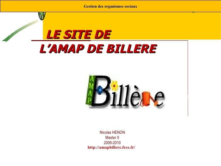 Nicolas HENON Master II 2009-2010 LE SITE DE  L'AMAP DE BILLERE   Gestion des organismes sociaux http://amapbillere.free.f...