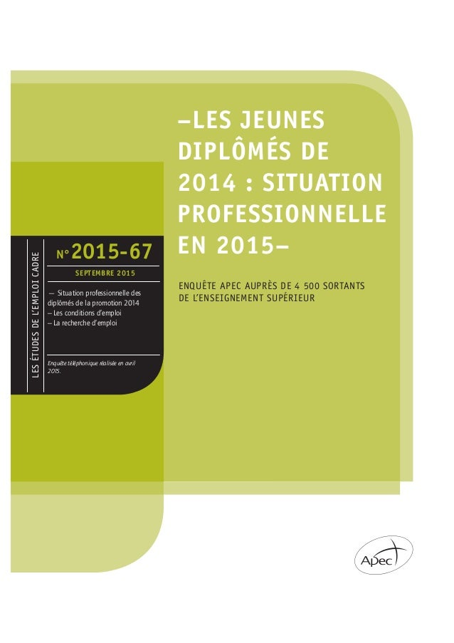 LESÉTUDESDEL'EMPLOICADRE –LES JEUNES DIPLÔMÉS DE 2014 : SITUATION PROFESSIONNELLE EN 2015– ENQUÊTE APEC AUPRÈS DE 4 500 SO...