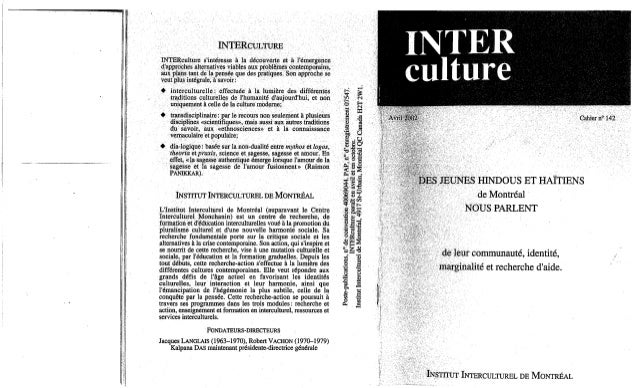 142-Des jeunes Hindous et Haïtiens de Montréal nous parlent. (document à télécharger en format PDF, 2,8Mb).