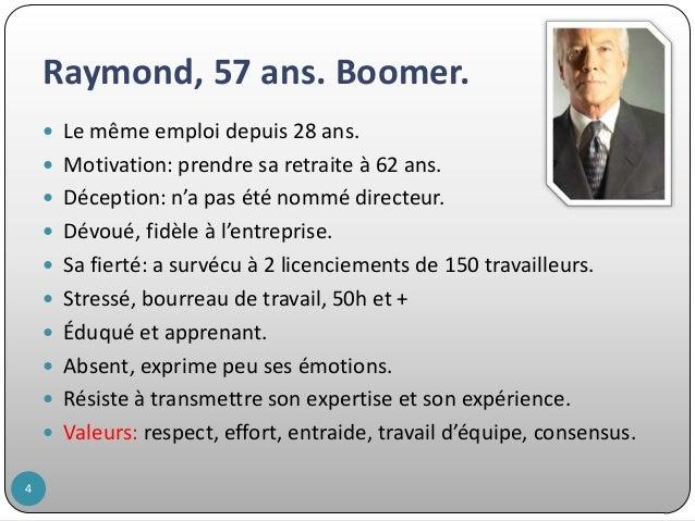 Raymond, 57 ans. Boomer.  Le même emploi depuis 28 ans.  Motivation: prendre sa retraite à 62 ans.  Déception: n'a pas ...