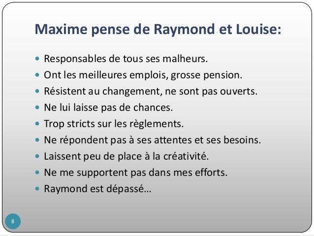 Maxime pense de Raymond et Louise:  Responsables de tous ses malheurs.  Ont les meilleures emplois, grosse pension.  Ré...