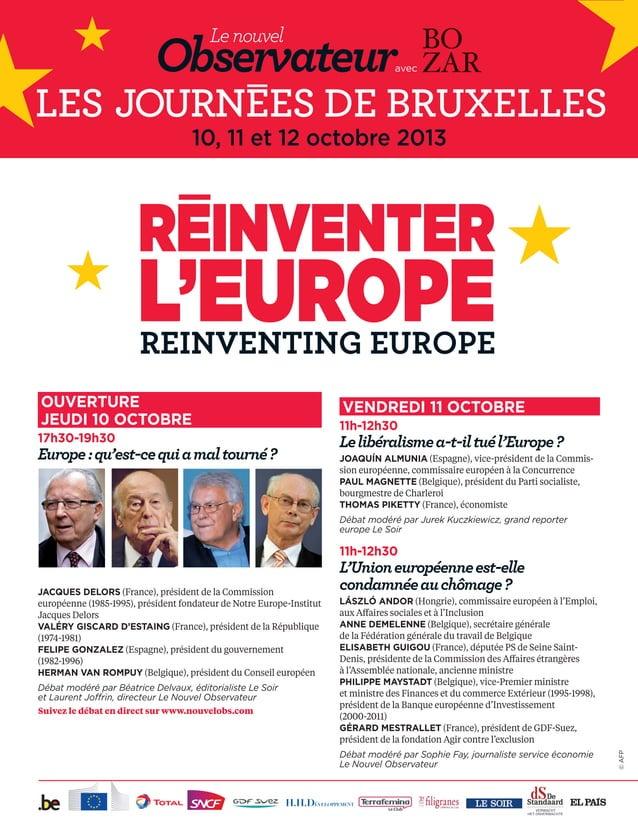 OUVERTURE JEUDI 10 OCTOBRE 17h30-19h30 Europe:qu'est-cequiamaltourné? JACQUES DELORS (France), président de la Commission...