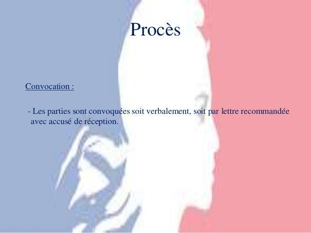 Les juridictions prud homales - Convocation devant le bureau de conciliation ...