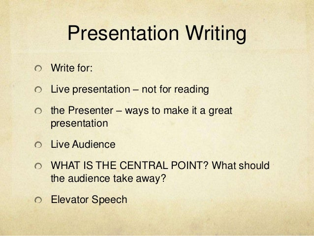 How to write a good presentation