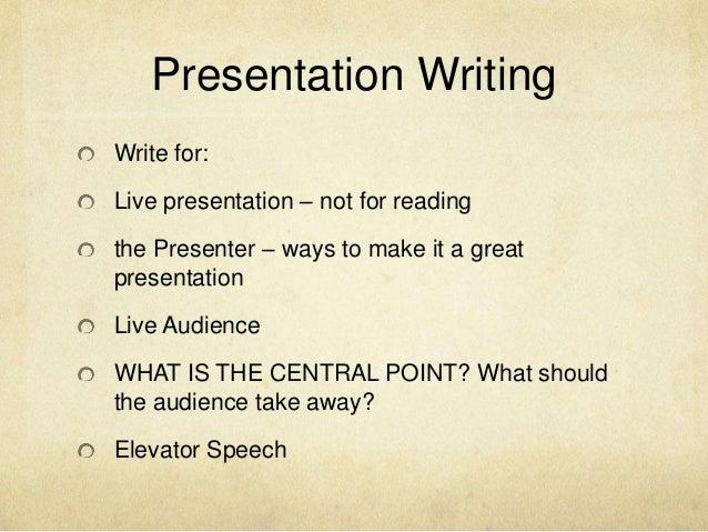 How to write a good presentation