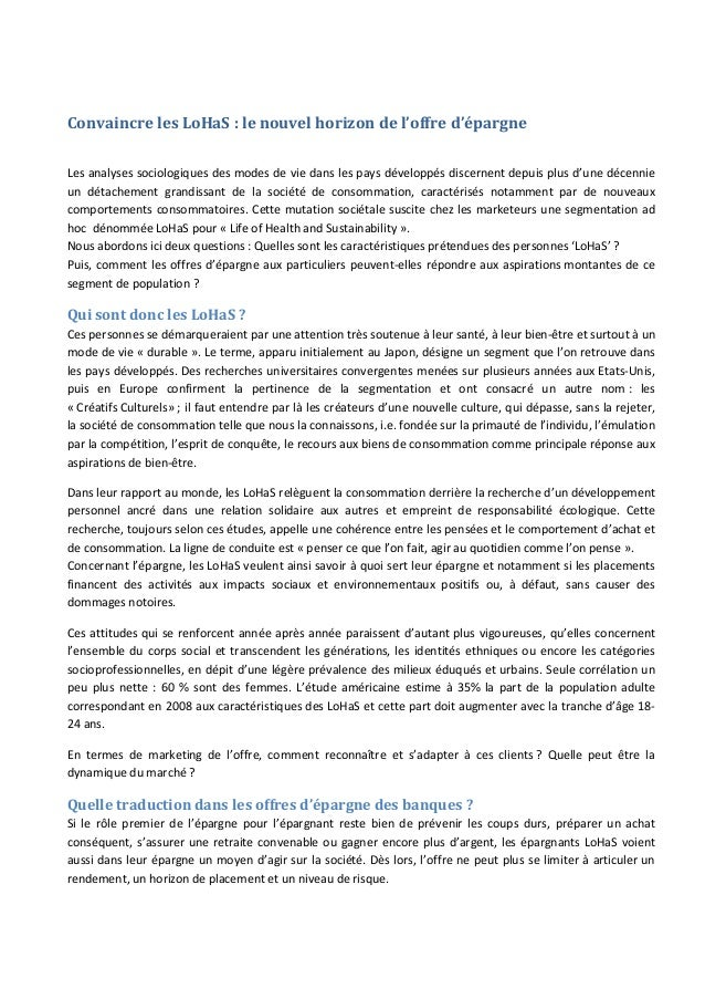 Convaincre les LoHaS : le nouvel horizon de l'offre d'épargneLes analyses sociologiques des modes de vie dans les pays dév...