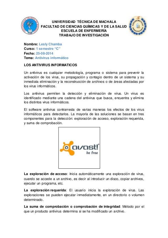 UNIVERSIDAD TÉCNICA DE MACHALA  FACULTAD DE CIENCIAS QUÍMICAS Y DE LA SALUD  ESCUELA DE ENFERMERÍA  TRABAJO DE INVESTIGACI...