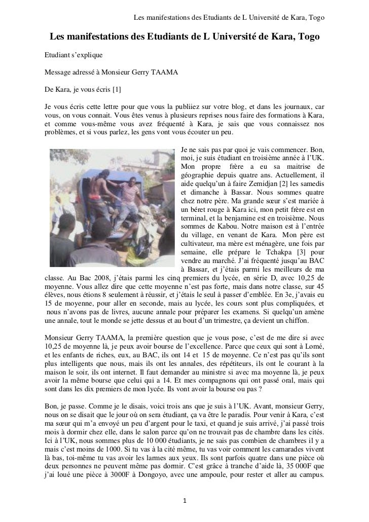 Les manifestations des Etudiants de L Université de Kara, Togo Les manifestations des Etudiants de L Université de Kara, T...