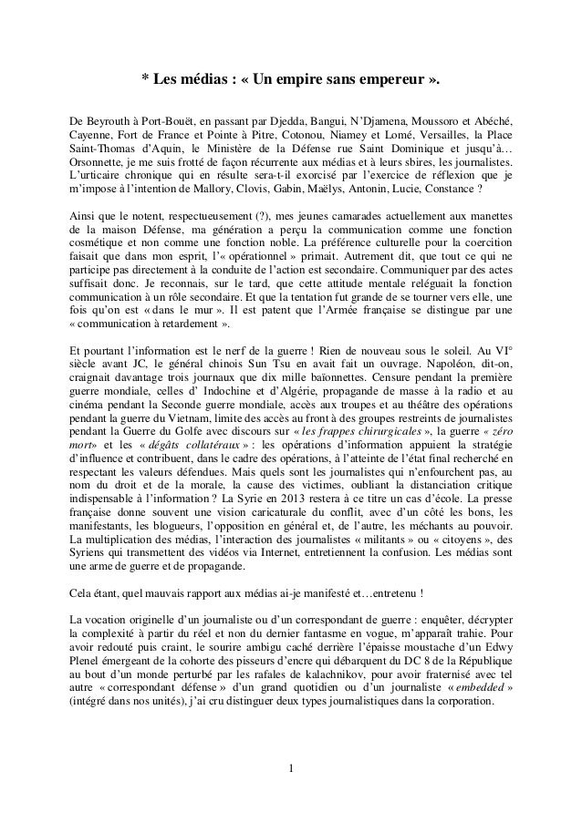 1 * Les médias : « Un empire sans empereur ». De Beyrouth à Port-Bouët, en passant par Djedda, Bangui, N'Djamena, Moussoro...