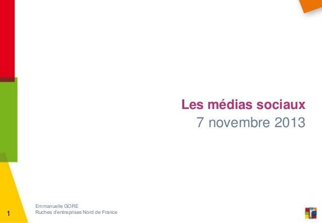 Les médias sociaux  7 novembre 2013  1  Emmanuelle GORE Ruches d'entreprises Nord de France