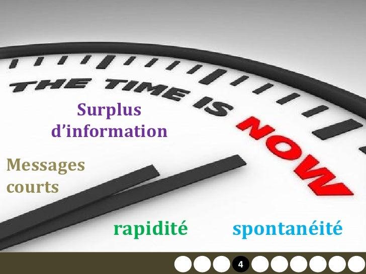 Surplus     d'information Messages courts             rapidité       spontanéité                       2   4