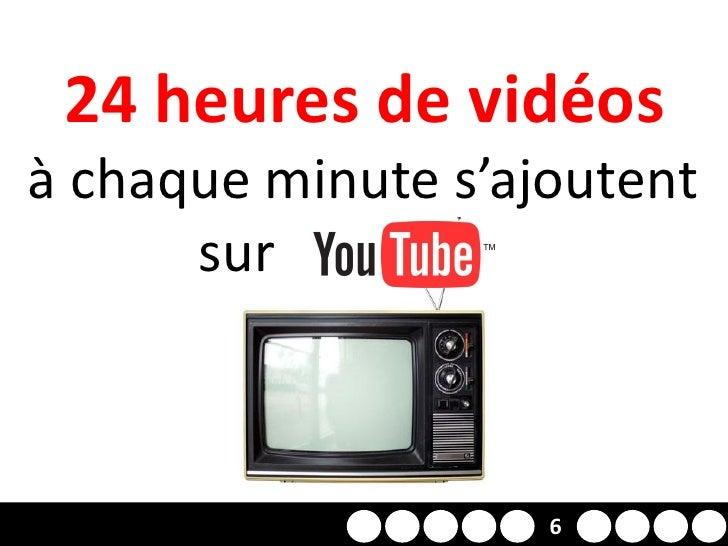 24 heures de vidéos à chaque minute s'ajoutent       sur YOUTUBE                  2     6