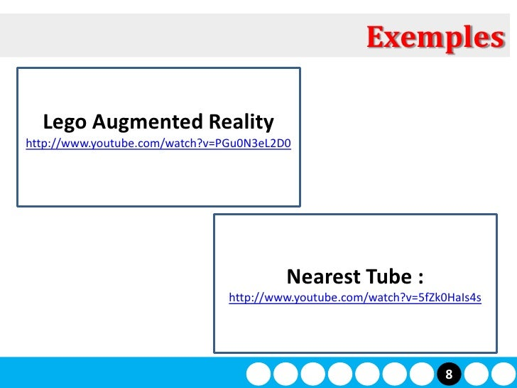 Exemples    Lego Augmented Reality http://www.youtube.com/watch?v=PGu0N3eL2D0                                             ...