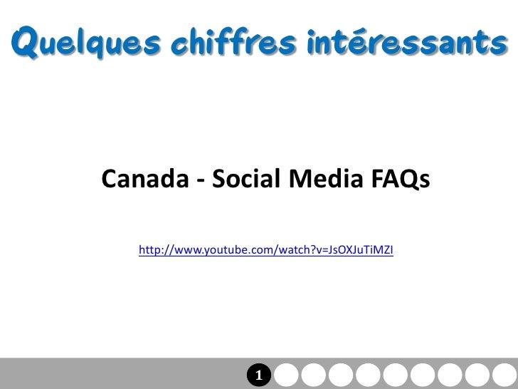 Quelques chiffres intéressants        Canada - Social Media FAQs         http://www.youtube.com/watch?v=JsOXJuTiMZI       ...