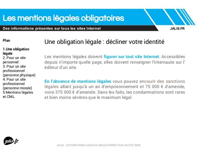 Les mentions legales obligatoires sur un site web for Le site internet