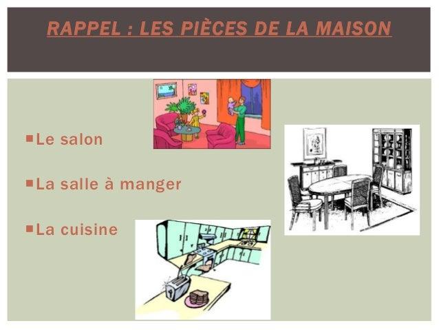 Le salon La salle à manger La cuisine RAPPEL : LES PIÈCES DE LA MAISON