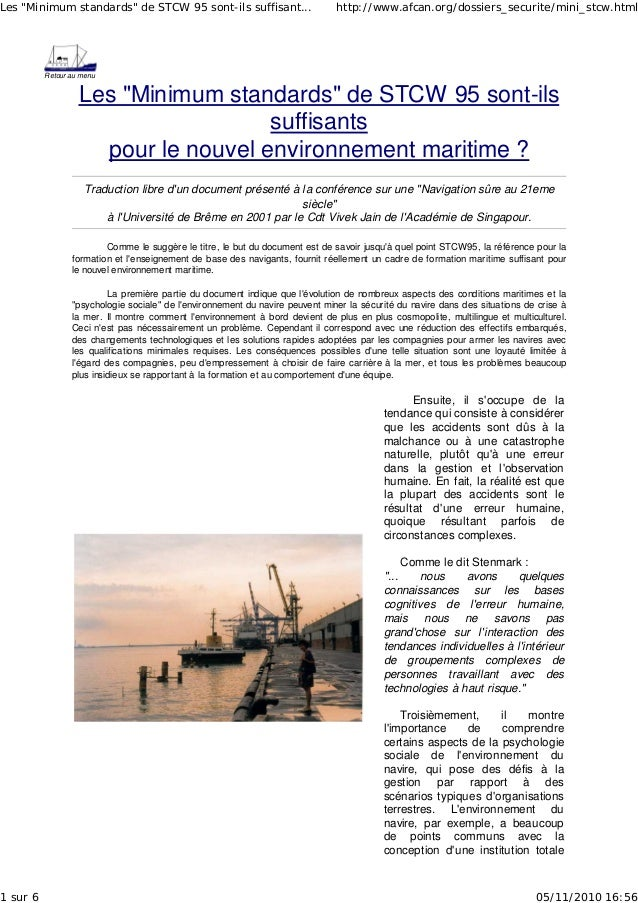 """Retour au menu Les """"Minimum standards"""" de STCW 95 sont-ils suffisants pour le nouvel environnement maritime ? Traduction l..."""