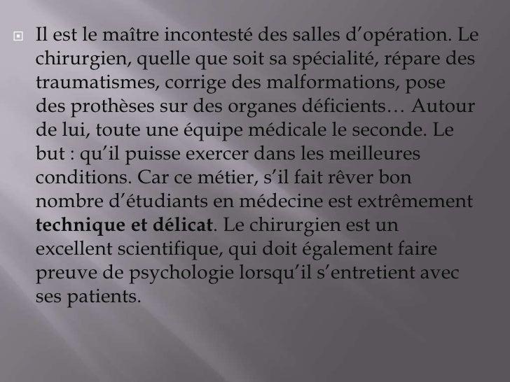 Les Métiers (Chirurgien Maçon) Slide 3