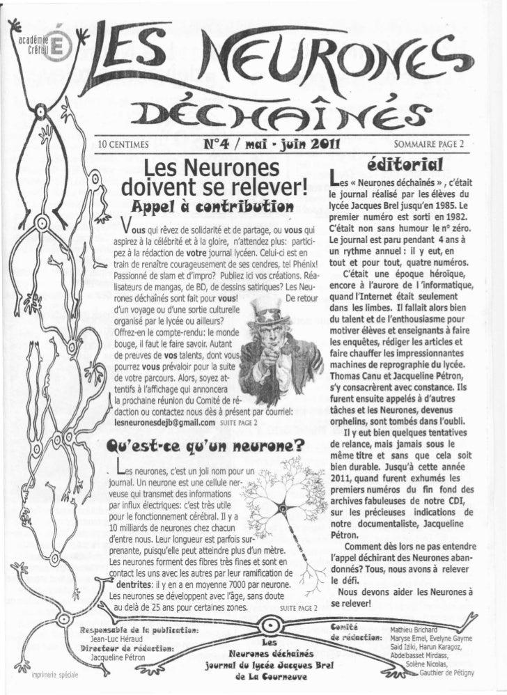 Les neurones déchainés numéro4 mai juin 2011 lycée jacques brel