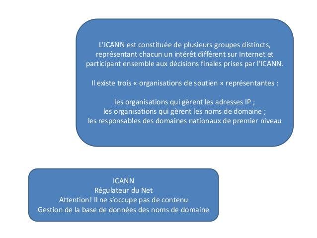L'ICANN est constituée de plusieurs groupes distincts, représentant chacun un intérêt différent sur Internet et participan...
