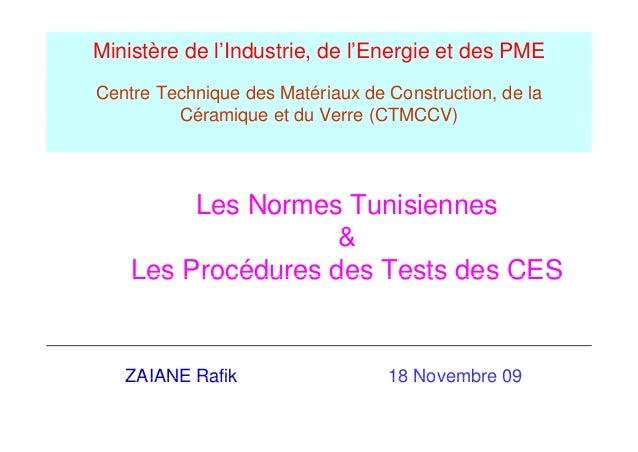 Ministère de l'Industrie, de l'Energie et des PMECentre Technique des Matériaux de Construction, de la         Céramique e...