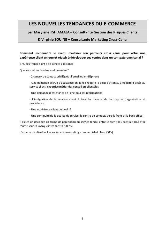 LES NOUVELLES TENDANCES DU E-COMMERCE par Marylène TSHIAMALA – Consultante Gestion des Risques Clients & Virginie ZOUINE –...