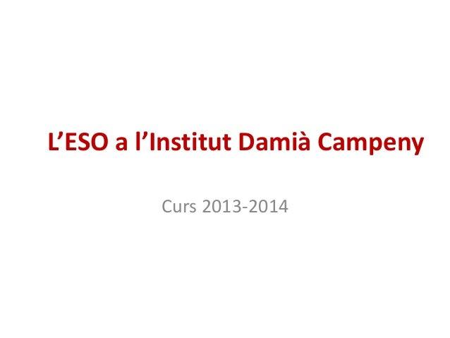 L'ESO a l'Institut Damià Campeny         Curs 2013-2014