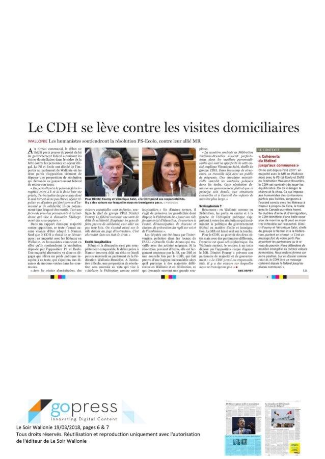 Le soir - Le cdH se lève contre les visites domiciliaires- 19.03.18