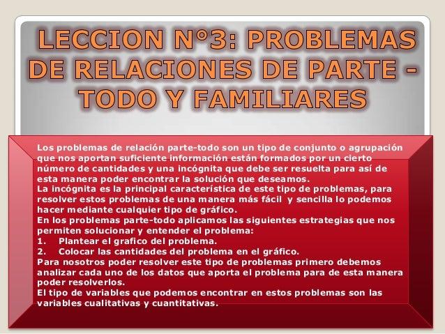 Los problemas de relación parte-todo son un tipo de conjunto o agrupación que nos aportan suficiente información están for...