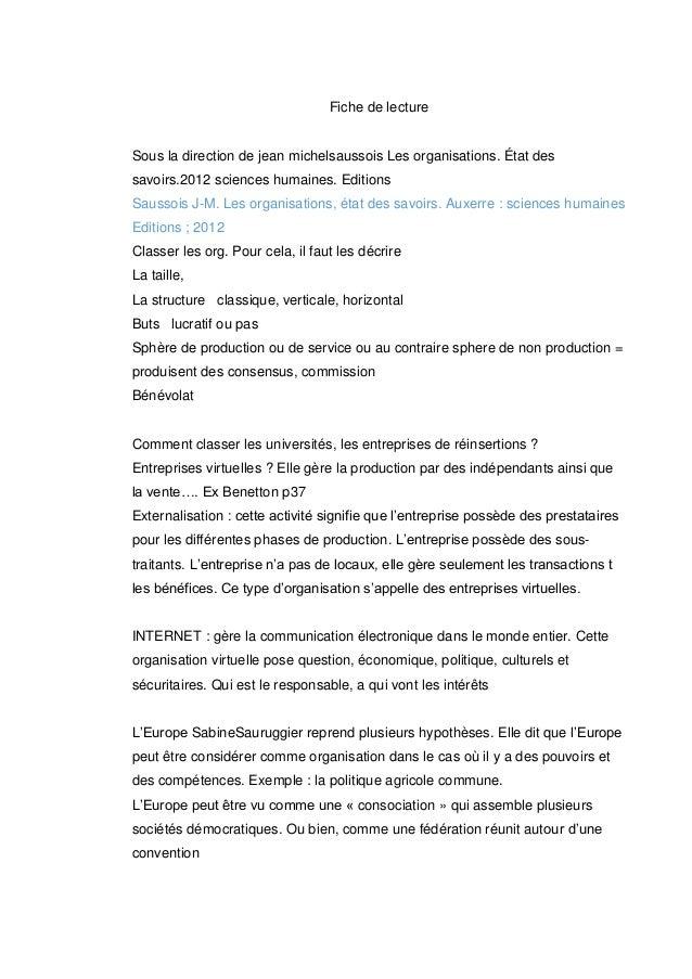 Fiche de lecture  Sous la direction de jean michelsaussois Les organisations. État des savoirs.2012 sciences humaines. Edi...