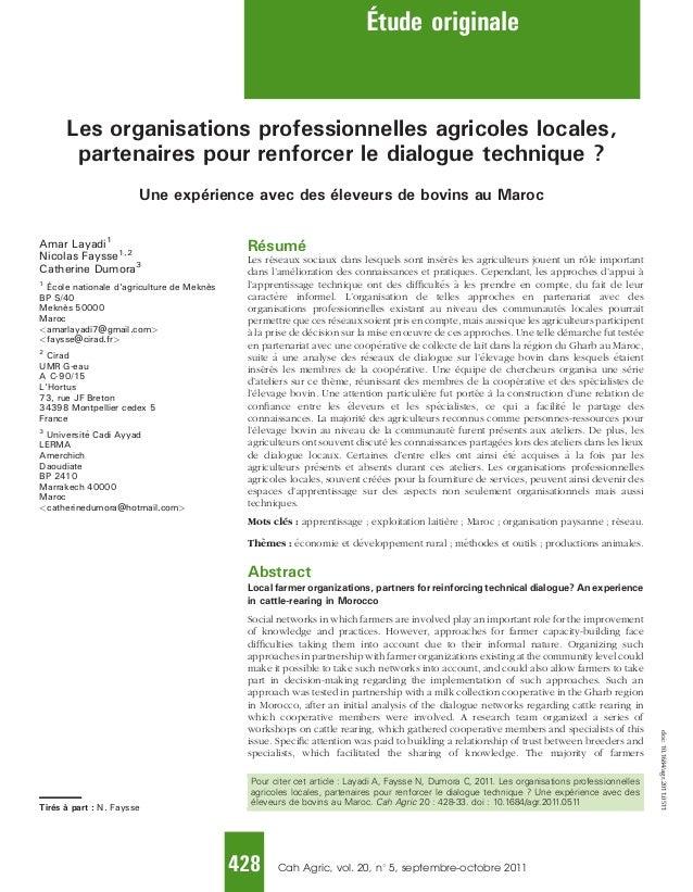Les organisations professionnelles agricoles locales, partenaires pour renforcer le dialogue technique ? Une expérience av...