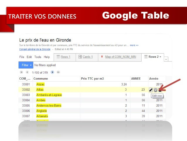 TRAITER VOS DONNEES Google Table