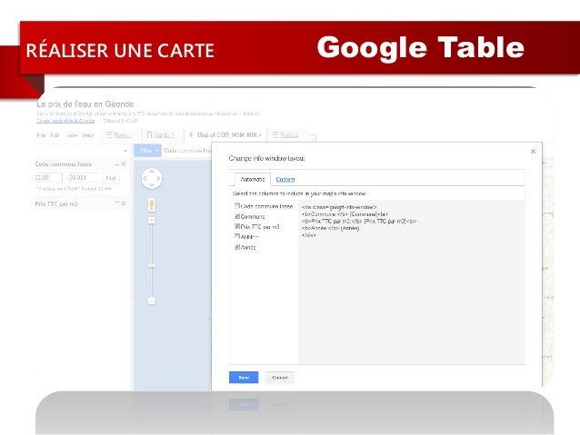 RÉALISER UNE CARTE Google Table