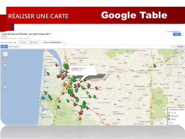 RÉALISER UNE CARTE Google TableCustomisationdu style de lacarte + légende