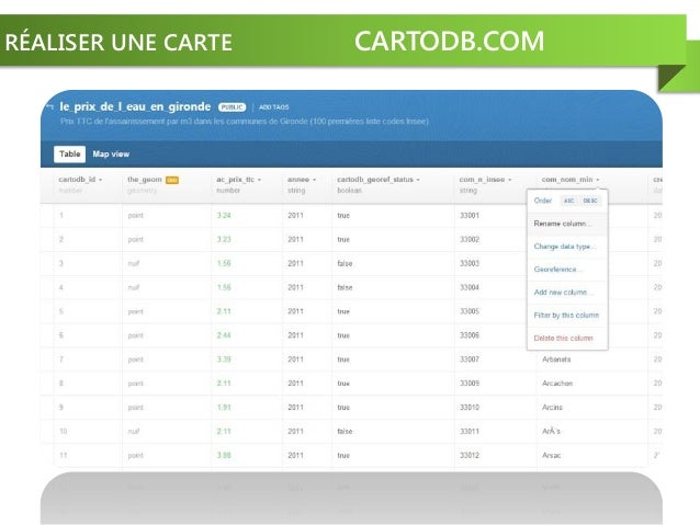 RÉALISER UNE CARTE CARTODB.COM
