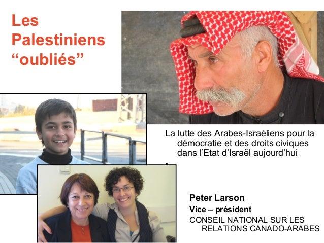 """Les  Palestiniens  """"oubliés""""  La lutte des Arabes-Israéliens pour la  démocratie et des droits civiques  dans l'Etat d'Isr..."""
