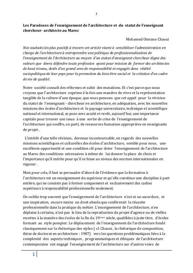 1Les Paradoxes de l'enseignement de l'architecture et du statut de lenseignantchercheur- architecte au Maroc              ...