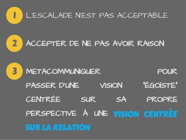 """LESCALADE NEST PAS ACCEPTABLEACCEPTER DE NE PAS AVOIR RAISONMETACOMMUNIQUER POURPASSER DUNE VISION """"ÉGOÏSTE""""CENTRÉE SUR SA..."""