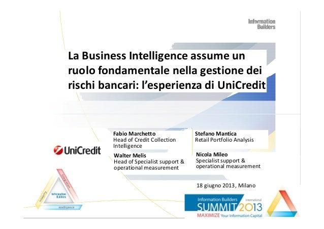 La Business Intelligence assume un ruolo fondamentale nella gestione dei rischi bancari: l'esperienza di UniCredit Fabio M...