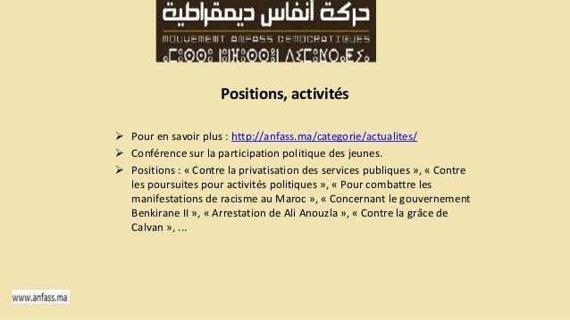 Positions, activités   Pour en savoir plus : http://anfass.ma/categorie/actualites/   Conférence sur la participation po...