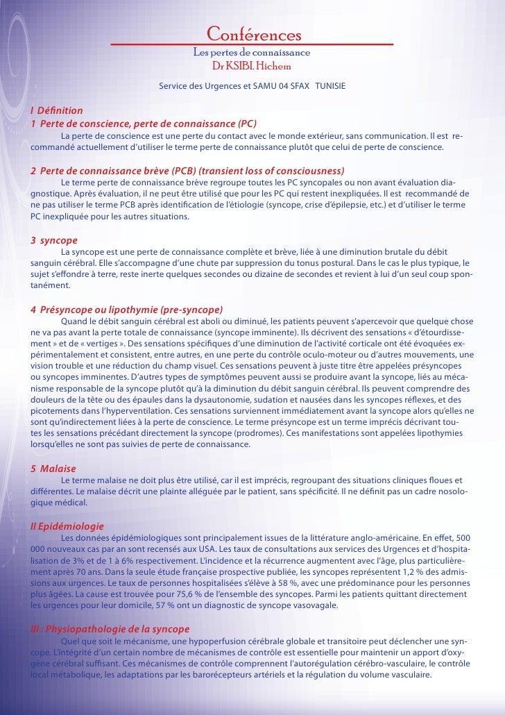 Conférences                                             Les pertes de connaissance                                        ...