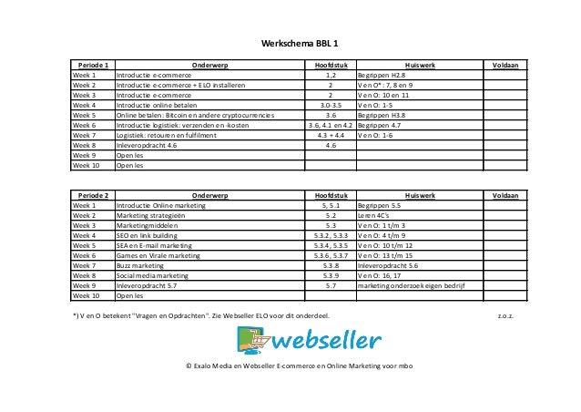 Periode 1 Onderwerp Hoofdstuk Huiswerk Voldaan Week 1 Introductie e-commerce 1,2 Begrippen H2.8 Week 2 Introductie e-comme...