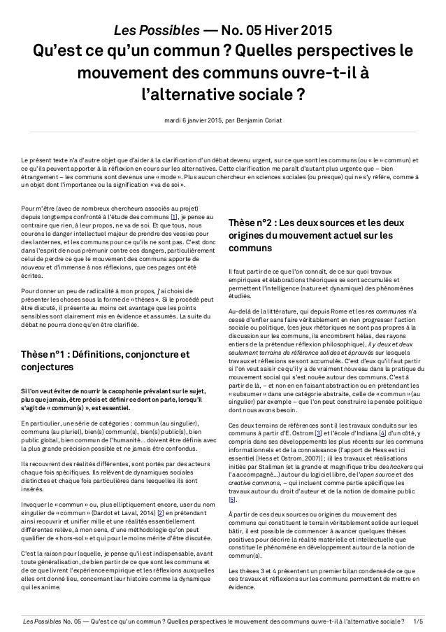 Les Possibles No. 05 — Qu'est ce qu'un commun ? Quelles perspectives le mouvement des communs ouvre-t-il à l'alternative s...
