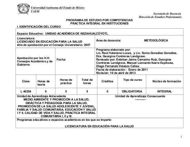 Secretaría de Docencia Dirección de Estudios Profesionales PROGRAMA DE ESTUDIO POR COMPETENCIAS PRACTICA INTEGRAL EN INSTI...