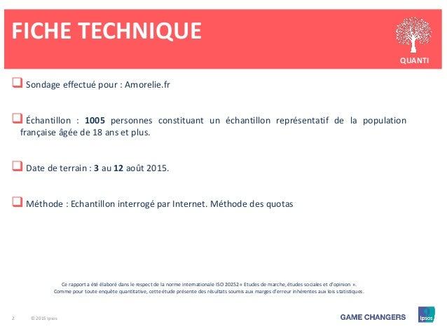2 © 2015 Ipsos FICHE TECHNIQUE QUANTI  Sondage effectué pour : Amorelie.fr  Échantillon : 1005 personnes constituant un ...