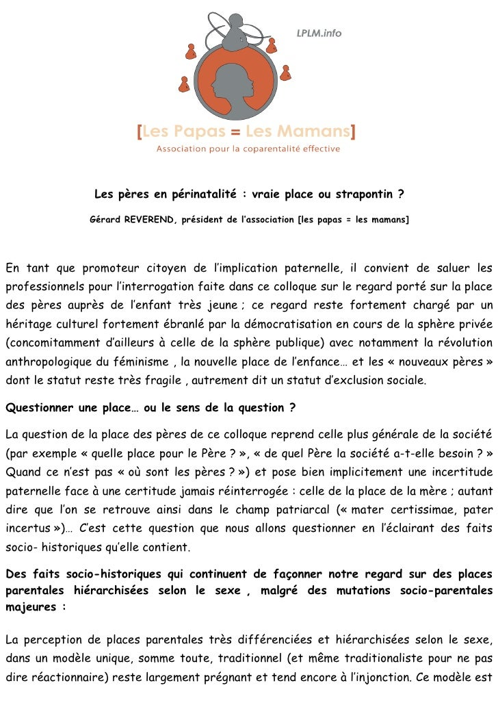 Les pères en périnatalité : vraie place ou strapontin ?                  Gérard REVEREND, président de l'association [les ...